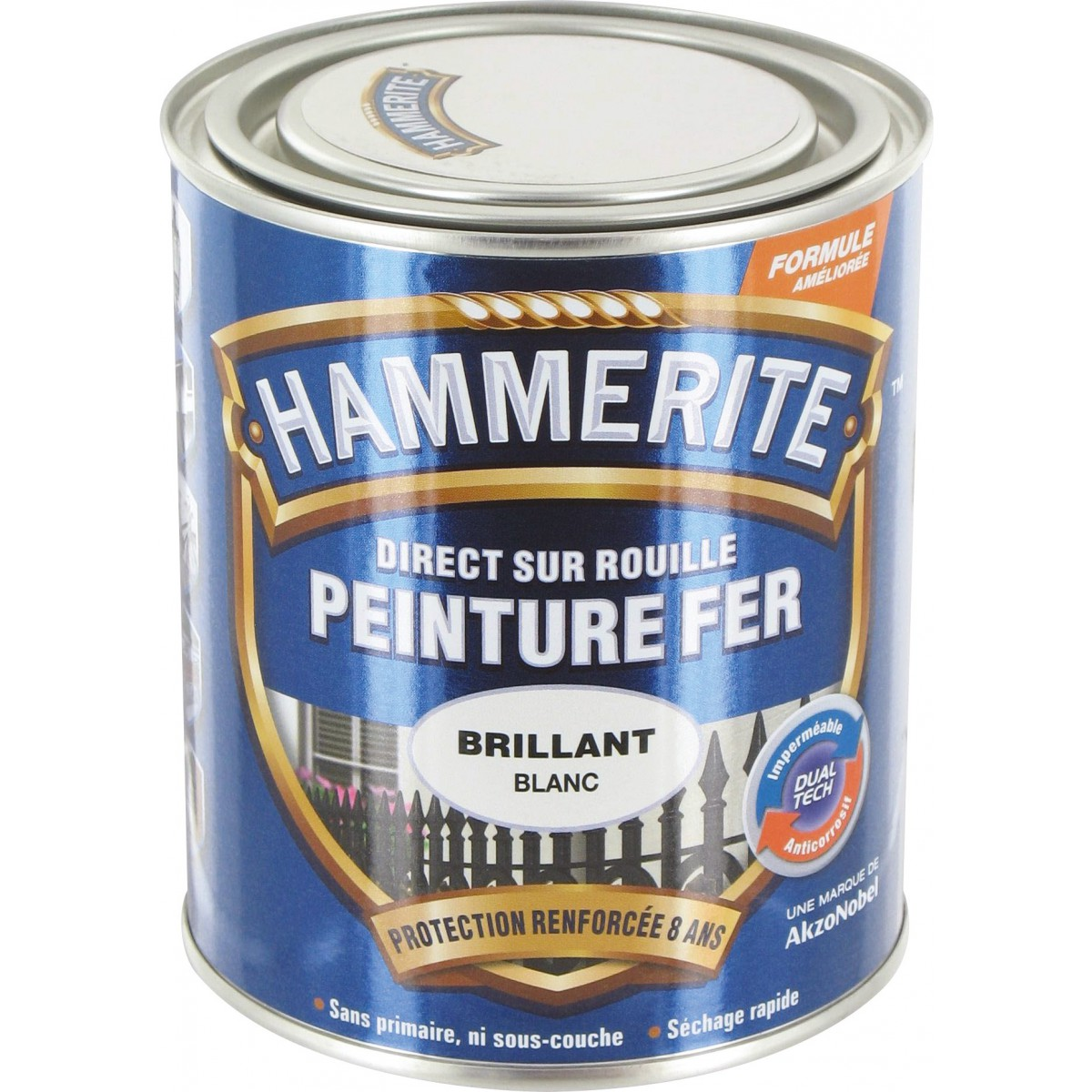 Peinture brillante Hammerite - Boîte 750 ml - Blanc brume