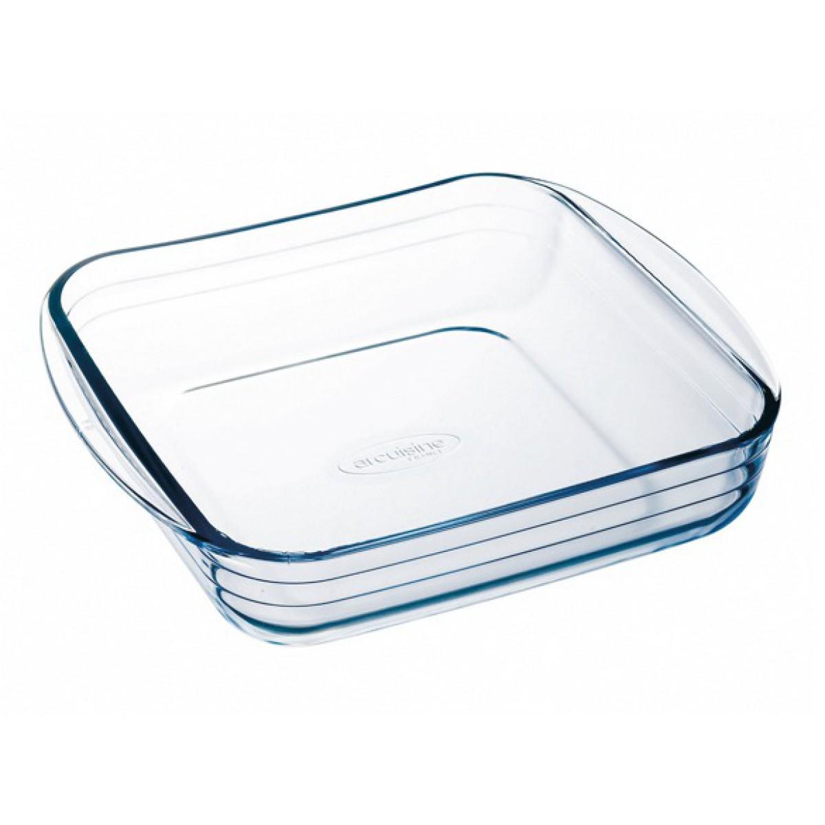 Plat carré en verre Borosilicate - Longueur 210 mm