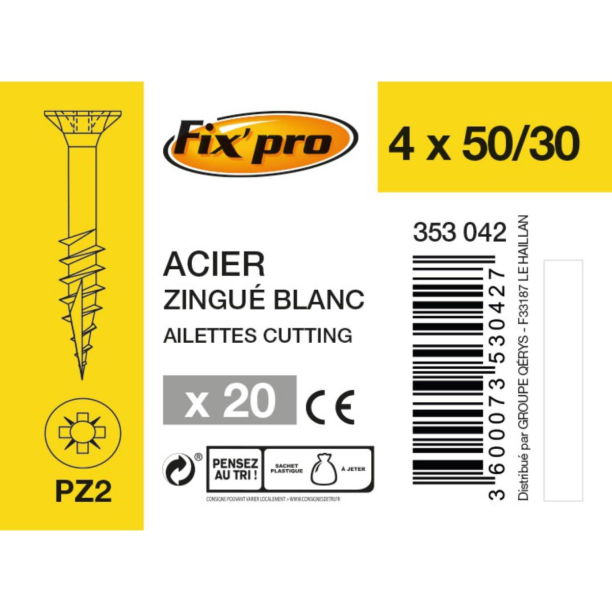 Vis à bois tête fraisée PZ - 4x50/30 - 20pces - Fixpro