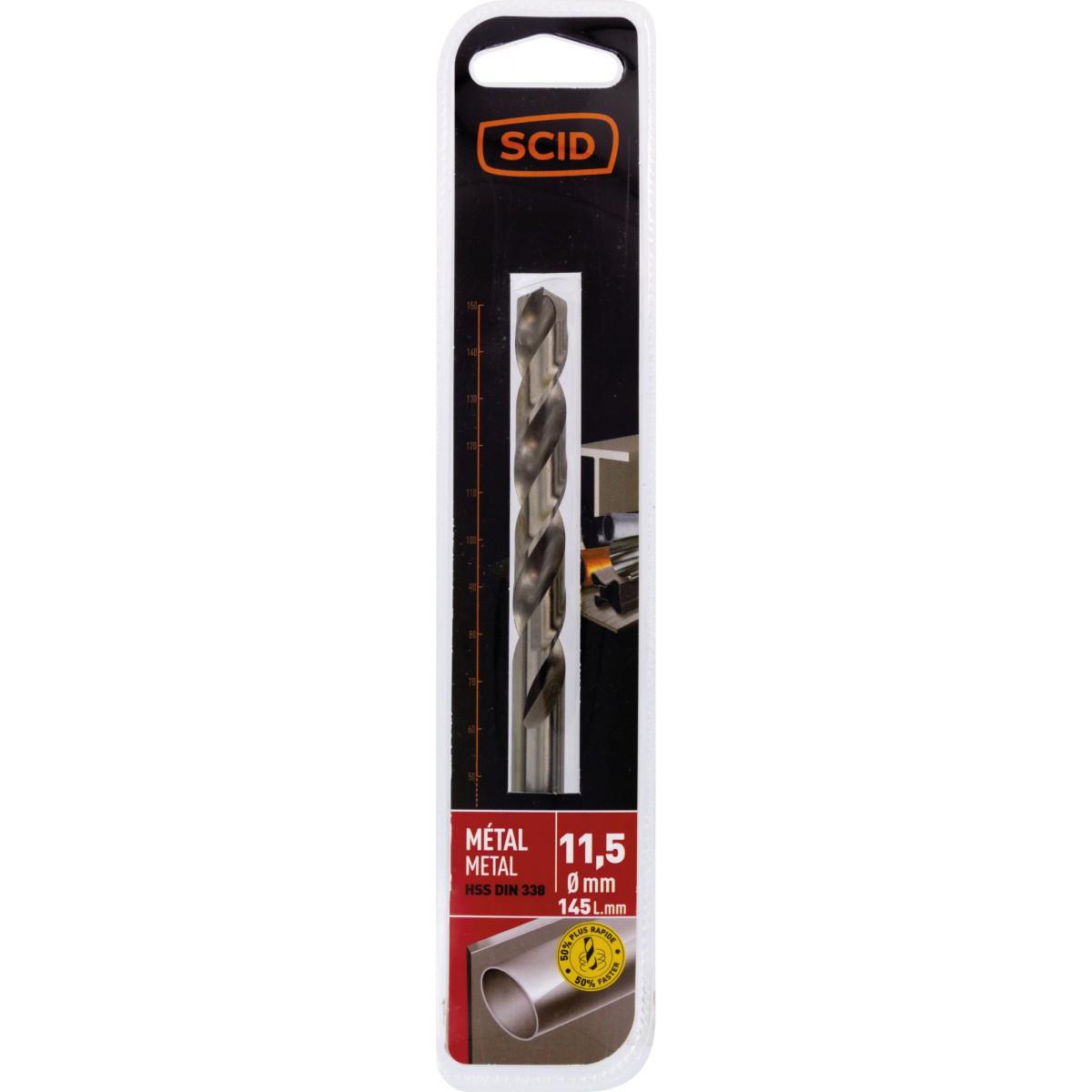 Foret métal HSS din 338 SCID - Longueur 145 mm - Diamètre 11,5 mm - Vendu par 1