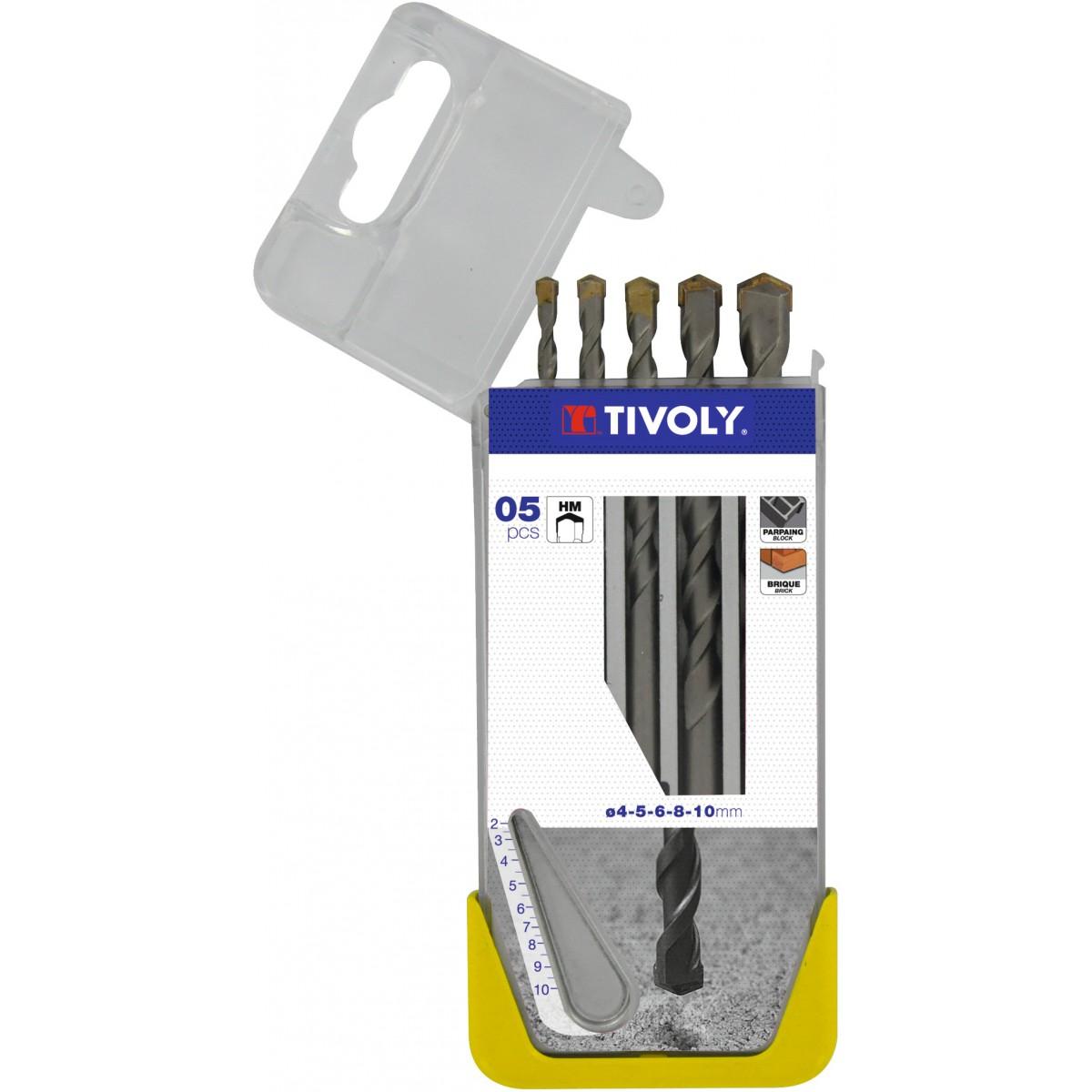 Coffret forets béton carbure usage fréquent Tivoly - 5 forets - Diamètre 4 à 10 mm