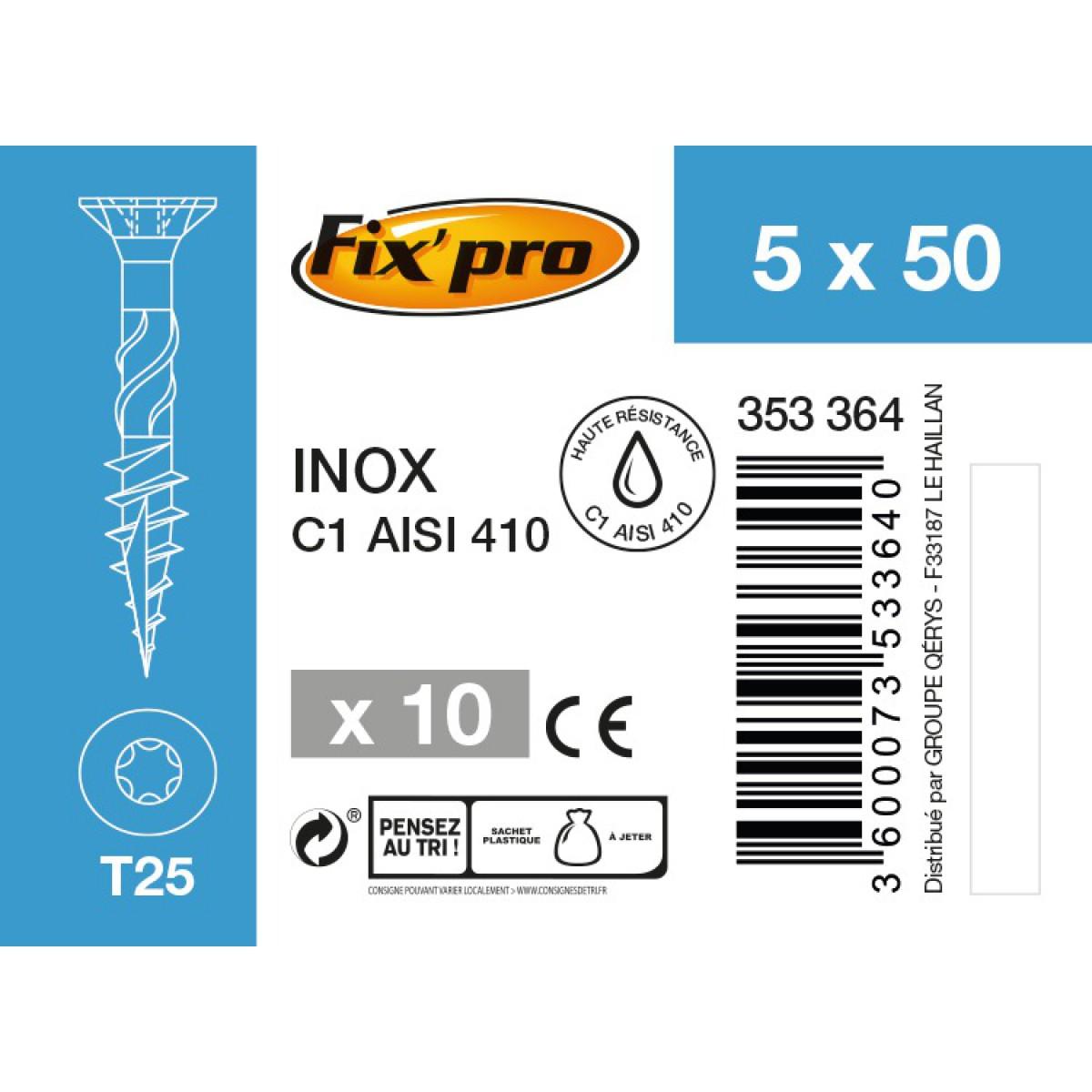Vis terrasse inox C1 - 5x50 - 10pces - Fixpro