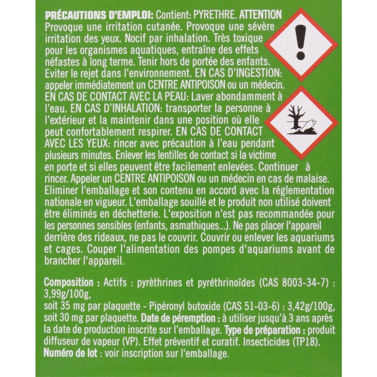 Moustiques émanateur électrique 100 % végétal Kapo Vert - Diffuseur + 10 tablettes