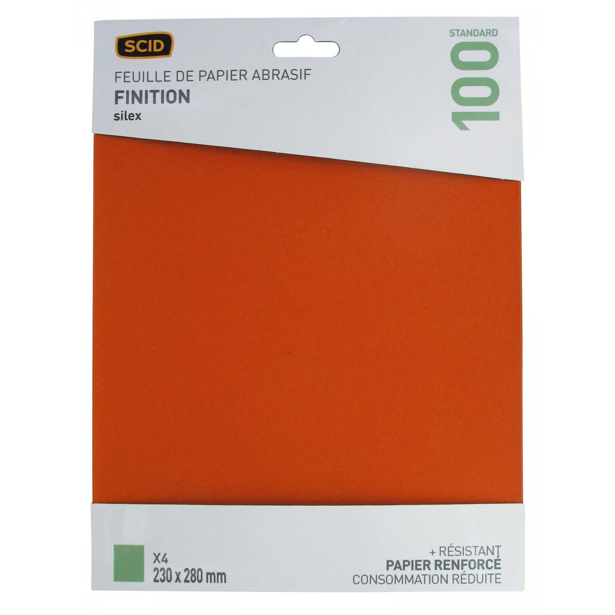 Papier de verre Silex SCID - Grain 100 - Vendu par 4