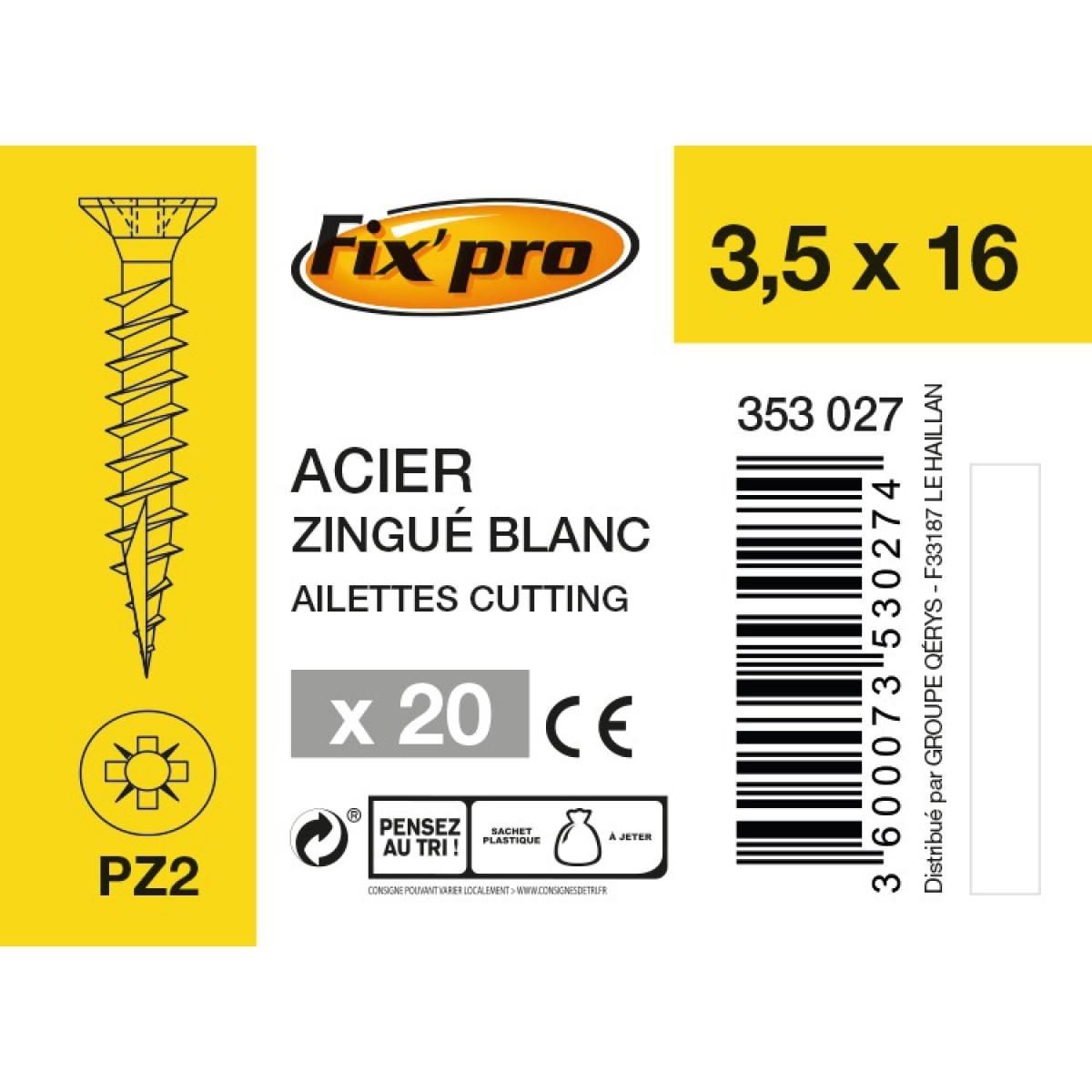 Vis à bois tête fraisée PZ - 3,5x16 - 20pces - Fixpro