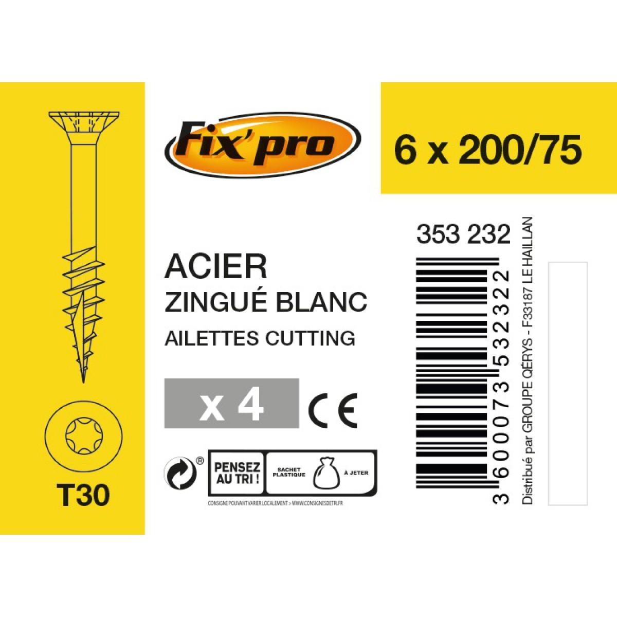 Vis à bois tête fraisée TX - 6x200/75 - 4pces - Fixpro