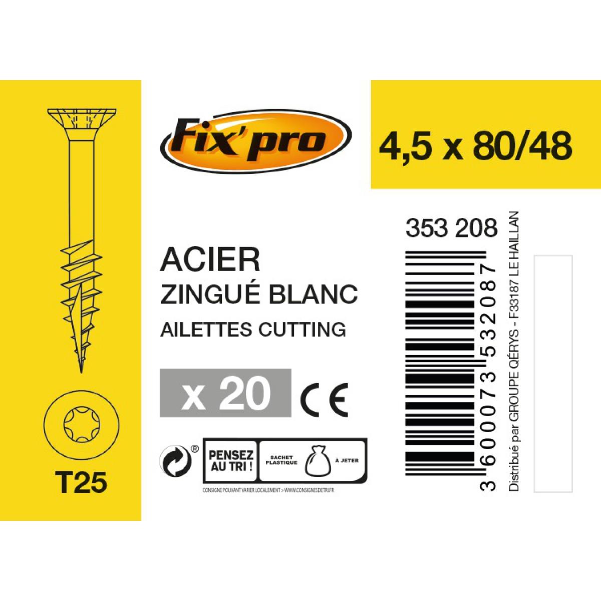 Vis à bois tête fraisée TX - 4,5x80/48 - 20pces - Fixpro