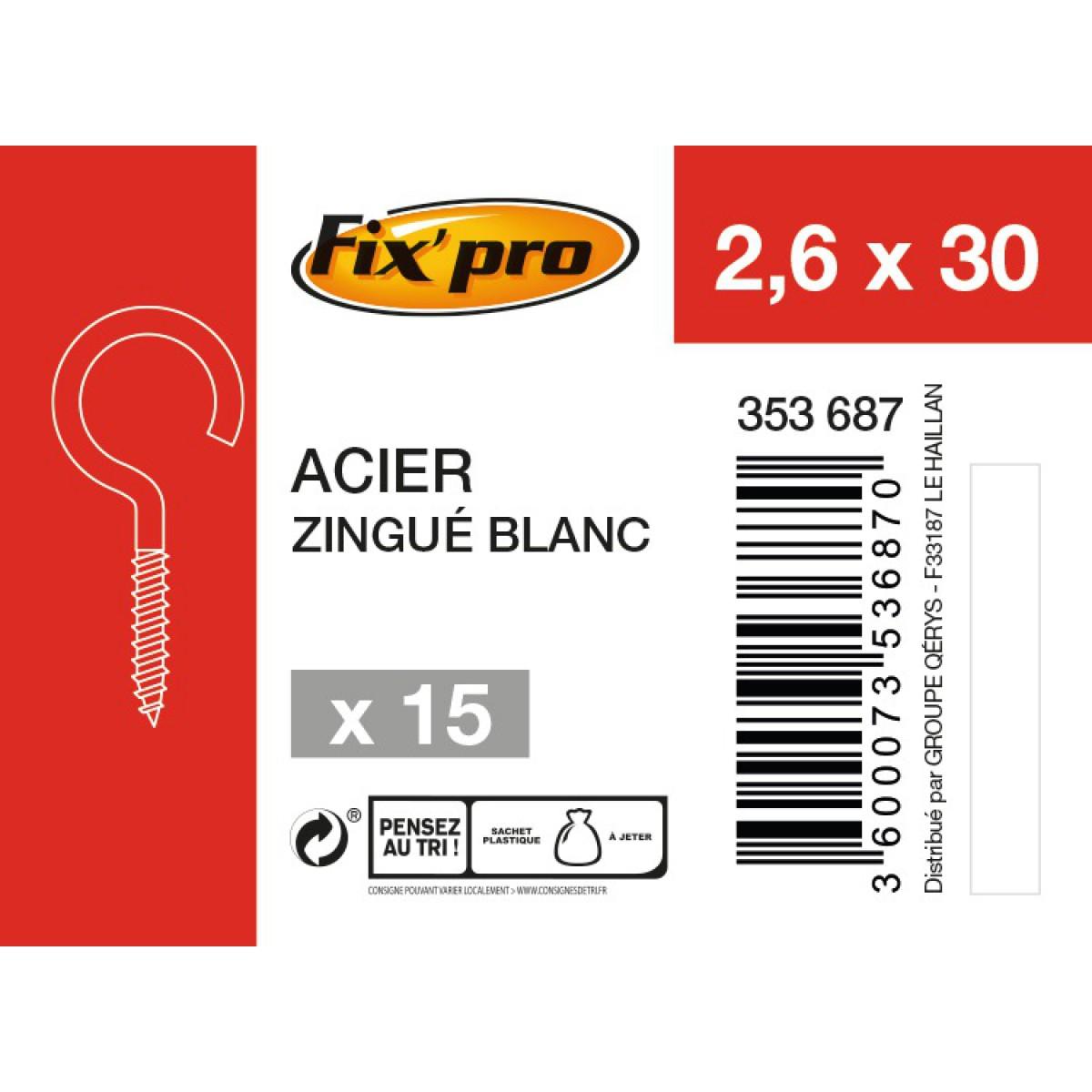 Crochet à visser acier zingué - 2,6x30 - 15pces - Fixpro