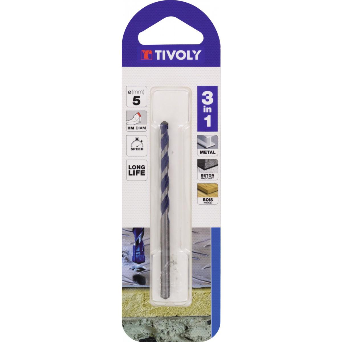 Foret multi-materiaux 3 en 1 Tivoly - Diamètre 5 mm