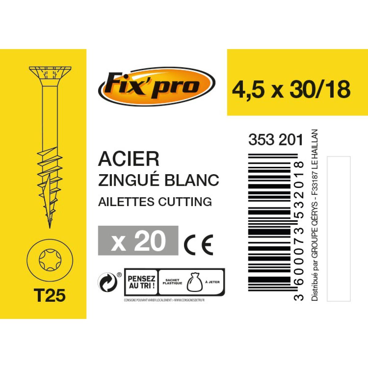 Vis à bois tête fraisée TX - 4,5x30/18 - 20pces - Fixpro