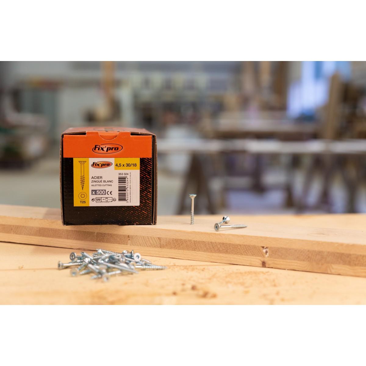 Vis à bois tête fraisée TX - 4x40/24 - 500pces - Fixpro