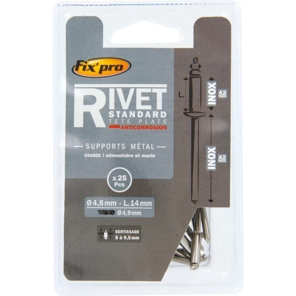 Rivet aveugle tête plate inox / inox A2 Fix'Pro - Longueur 14 mm - Diamètre 4,8 mm - Vendu par 25