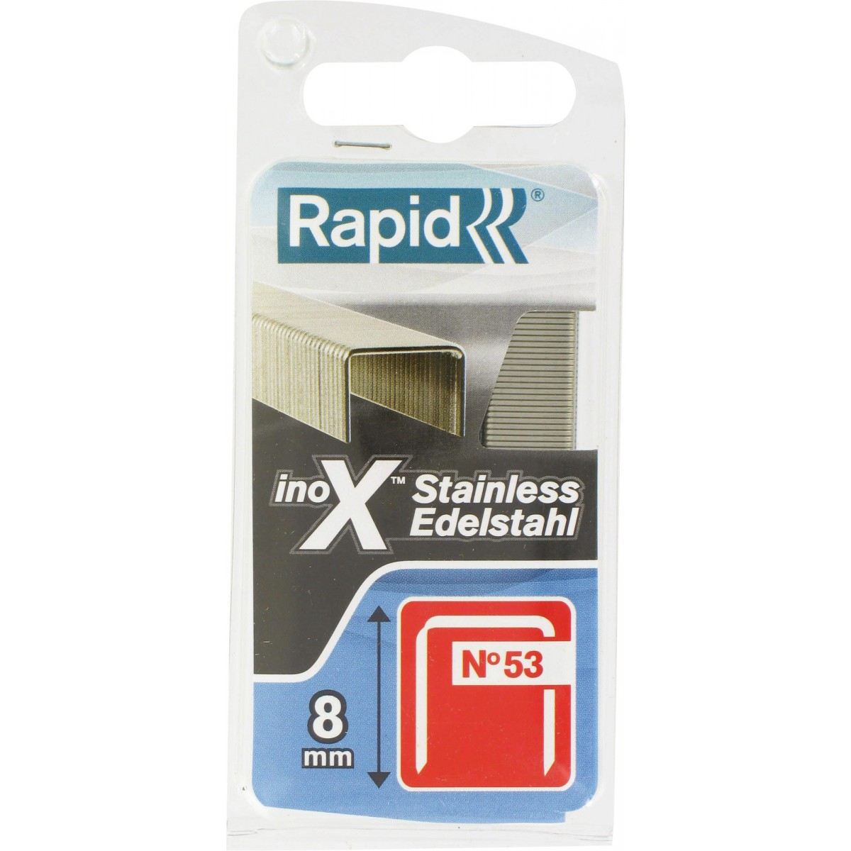 Agrafe inox n°53 Rapid Agraf - Hauteur 8 mm - 1080 agrafes