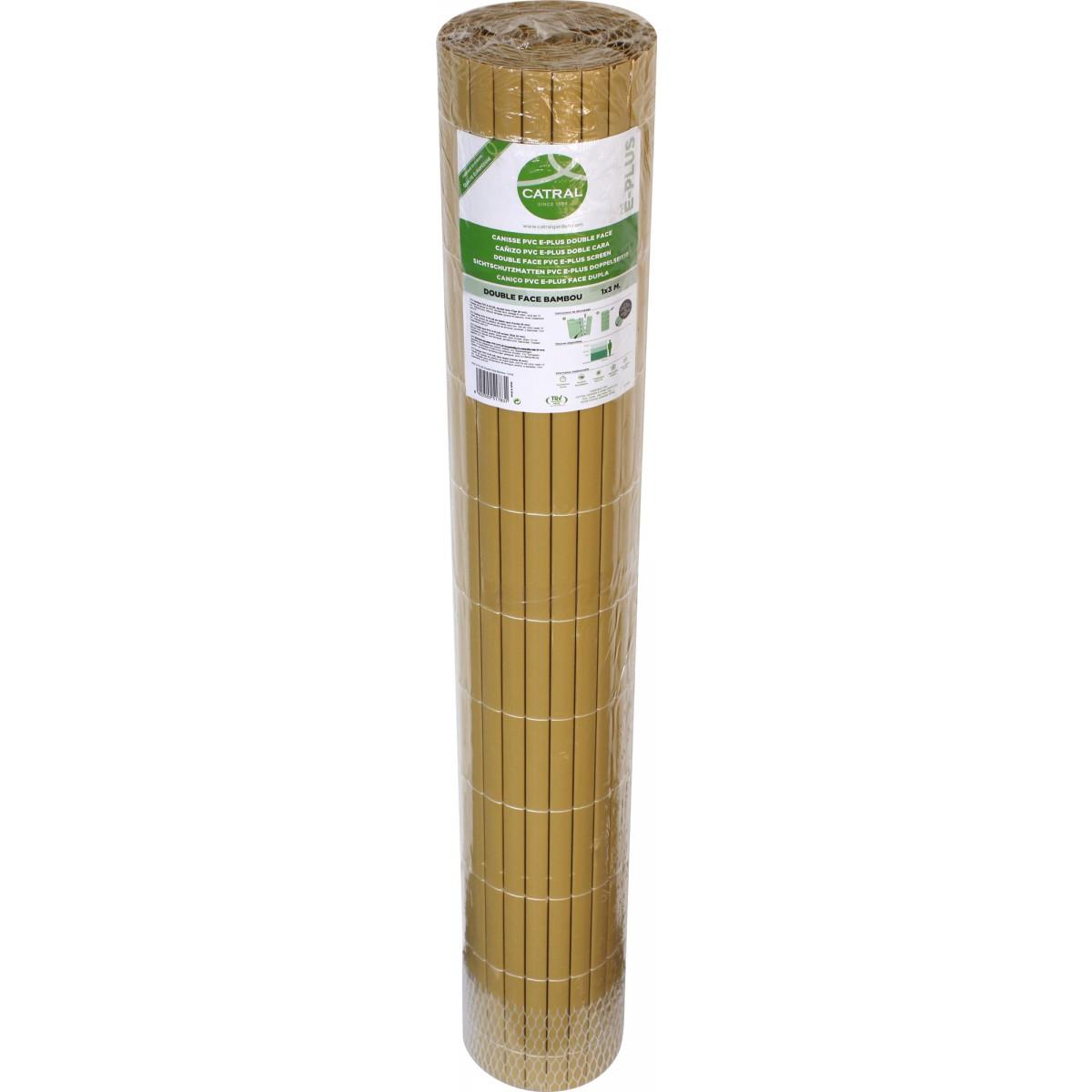 Canisse double face en plastique Catral - Bambou - Longueur 3 m - Hauteur 1,5 m