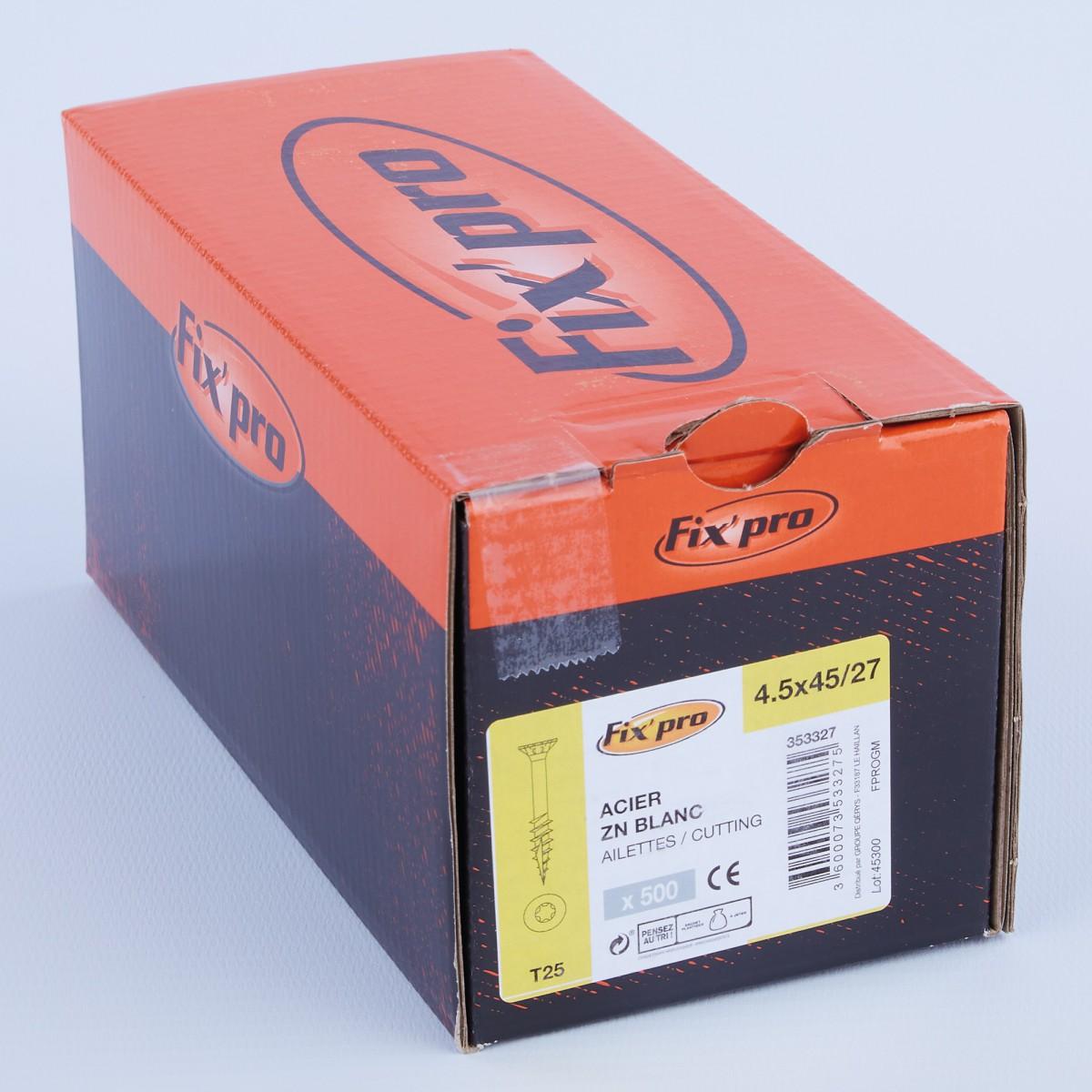 Vis à bois tête fraisée TX - 4,5x45/27 - 500pces - Fixpro