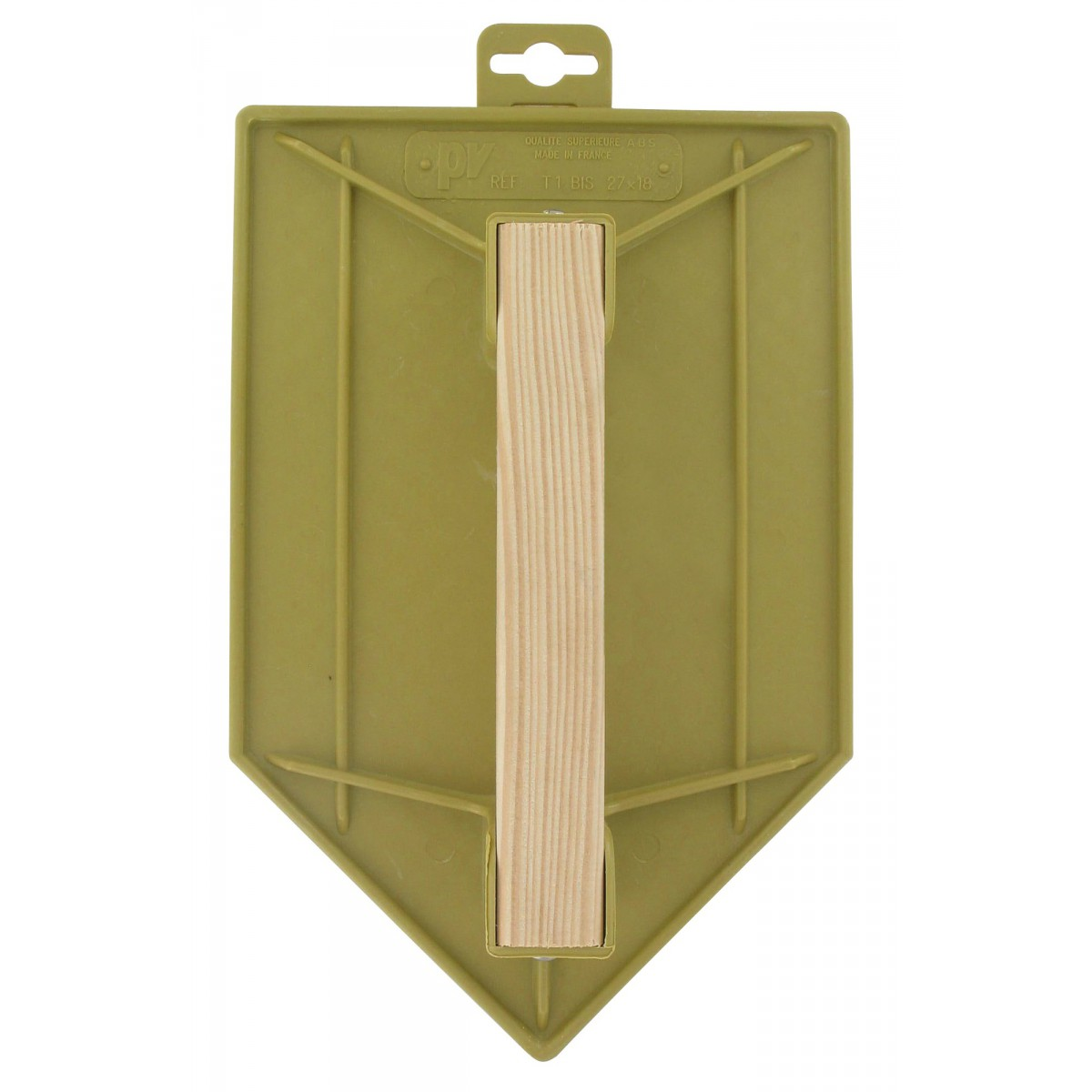 Taloche plastique ABS jaune triangulaire Outibat - Dimensions 18 x 27 cm