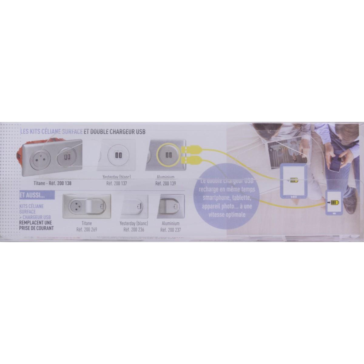 Prise de courant affleurante 2P+T - Double USB Legrand - Céliane - Titane