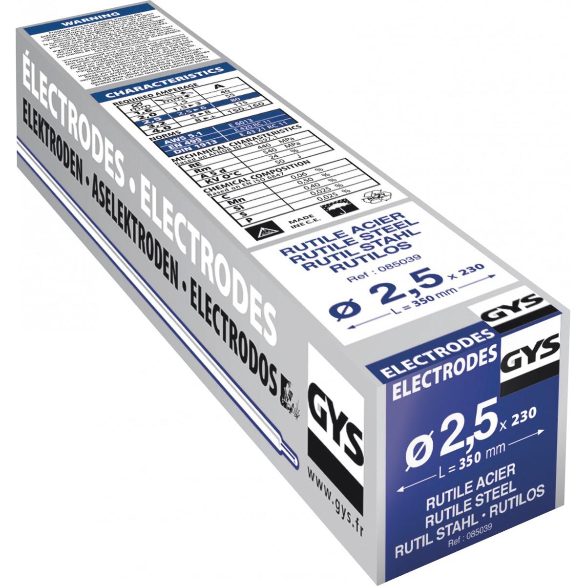 Electrode traditionnelle acier rutile Gys - Diamètre 2,5 mm - Vendu par 230