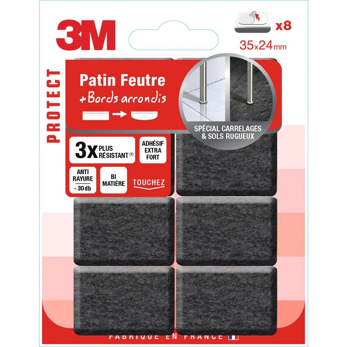 Patin adhésif feutre bords arrondis Spécial carrelage et sols rugueux 3M - Dimensions 35 x 24 mm - Vendu par 8