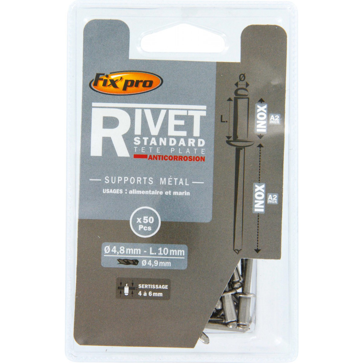 Rivet aveugle tête plate inox / inox A2 Fix'Pro - Longueur 10 mm - Diamètre 4,8 mm - Vendu par 50