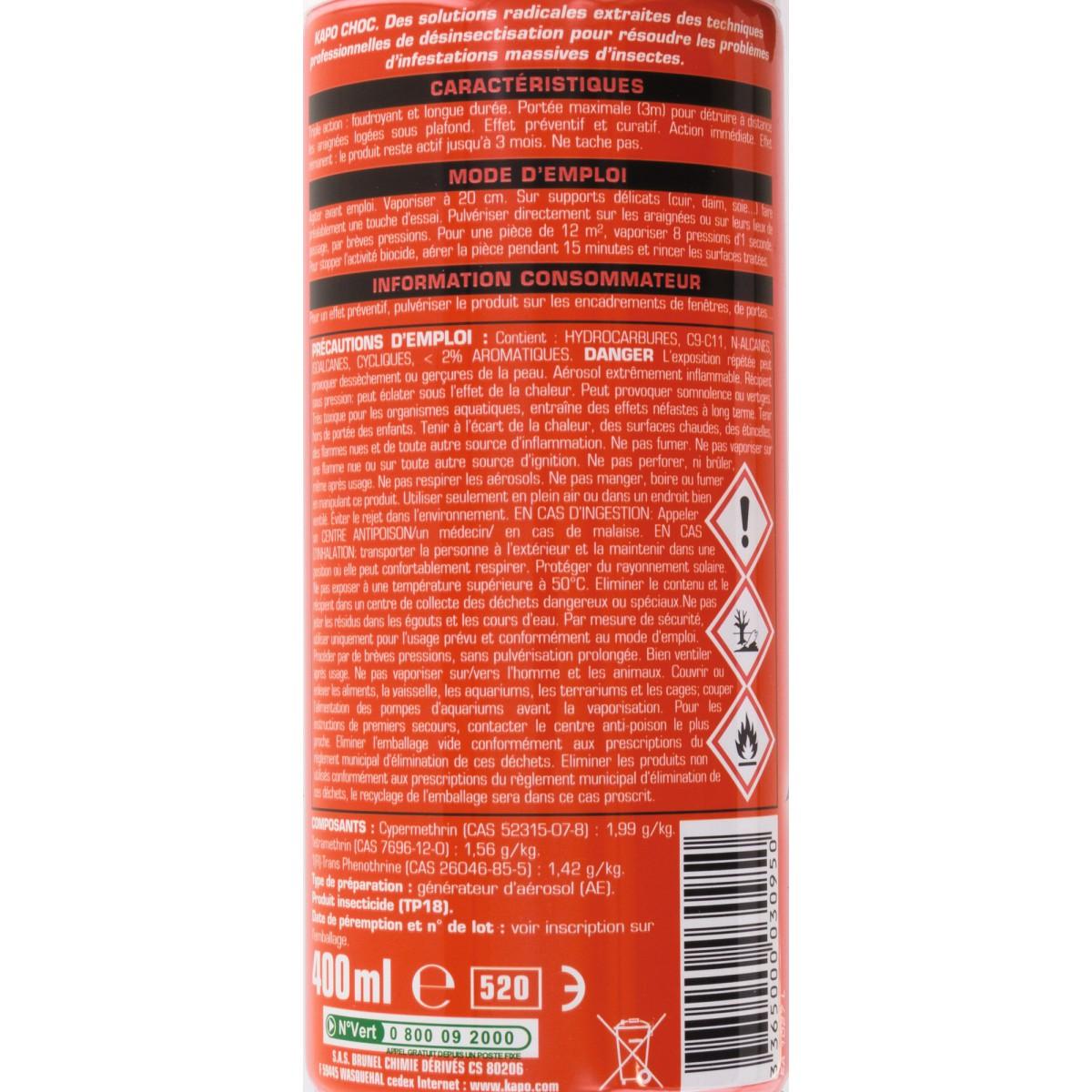 Araignées Kapo Choc - Aérosol 400 ml