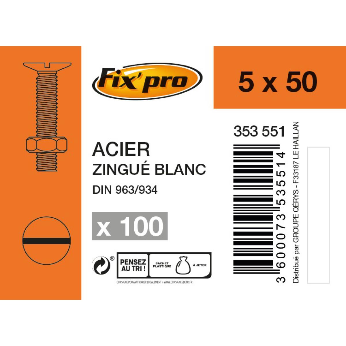 Boulon tête fraisée fendue acier zingué  - 5x50 - 100pces - Fixpro