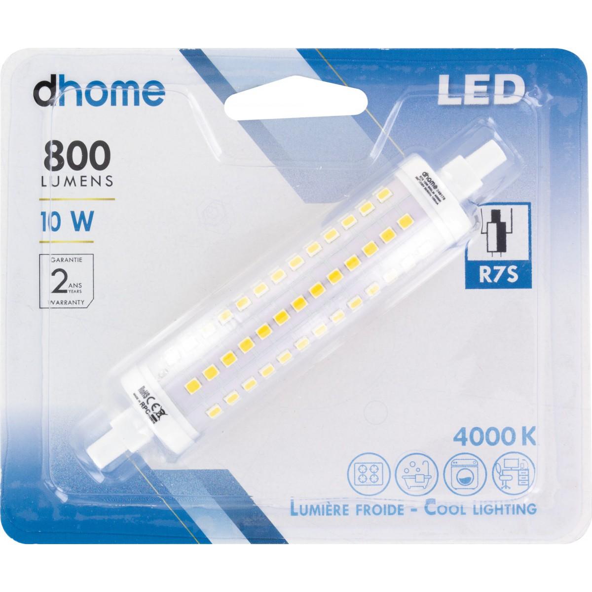 Ampoule LED crayon R7S dhome - 800 Lumens - 10 W - 4000 K