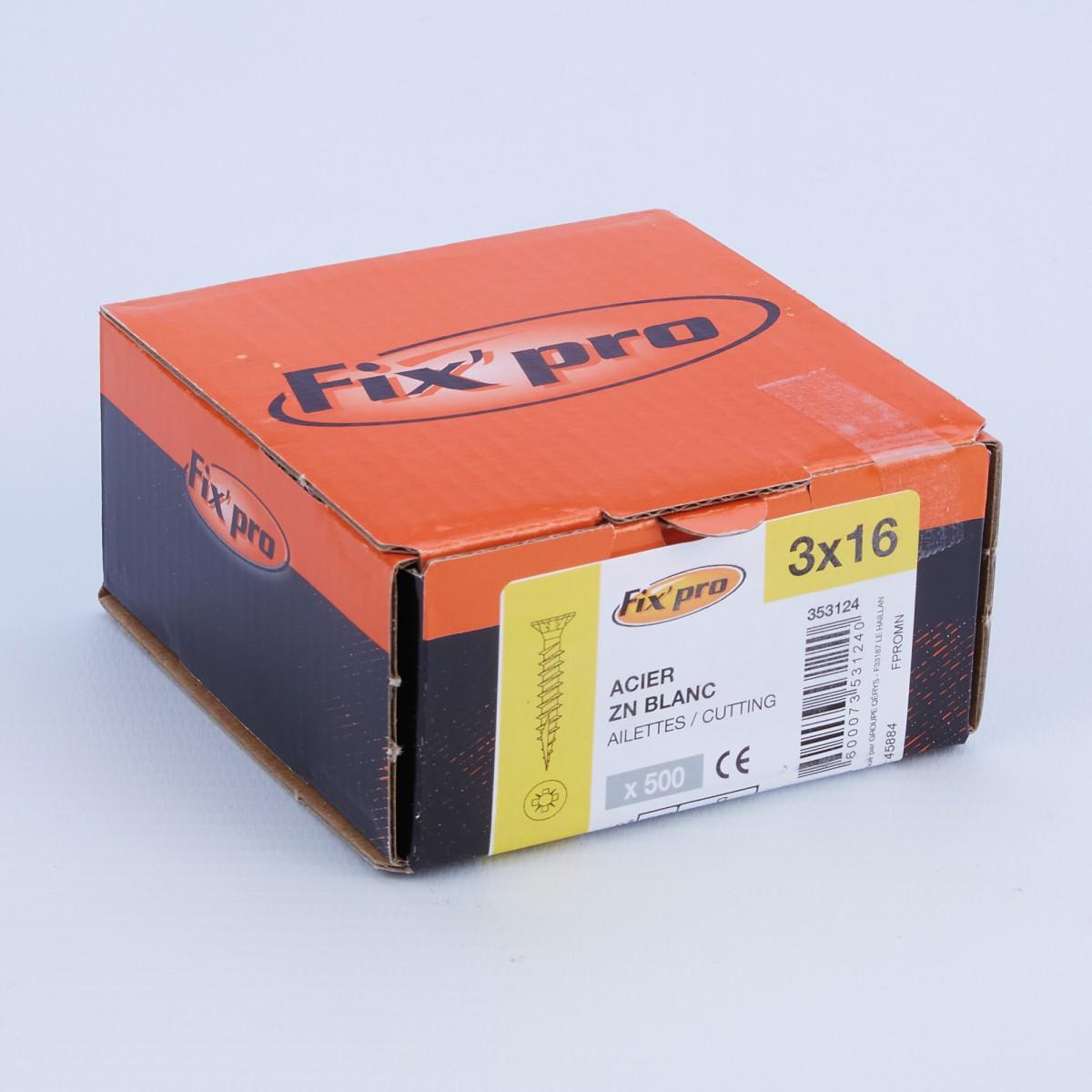 Vis à bois tête fraisée PZ - 3x16 - 500pces - Fixpro