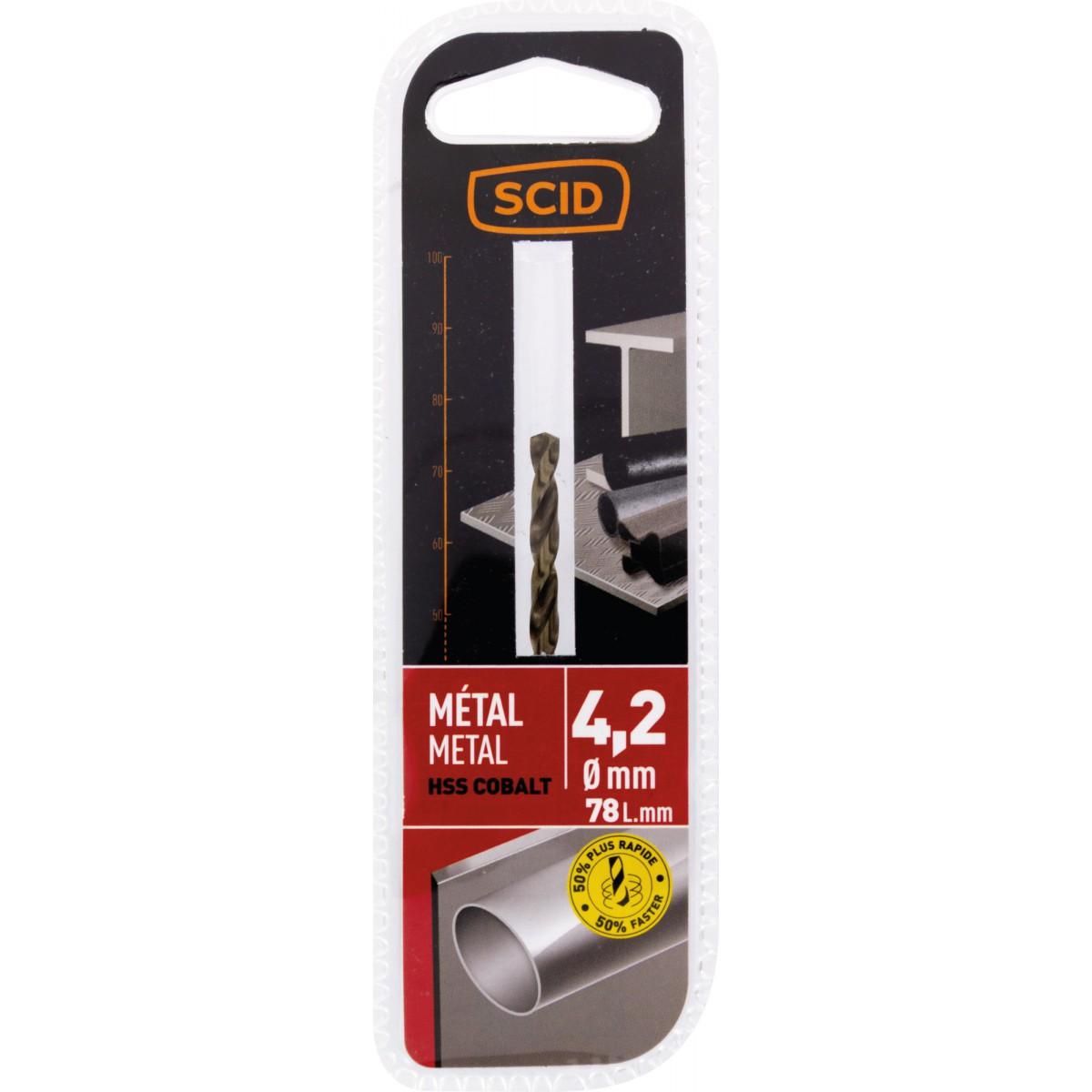 Foret métal HSS cobalt SCID - Longueur 78 mm - Diamètre 4,2 mm