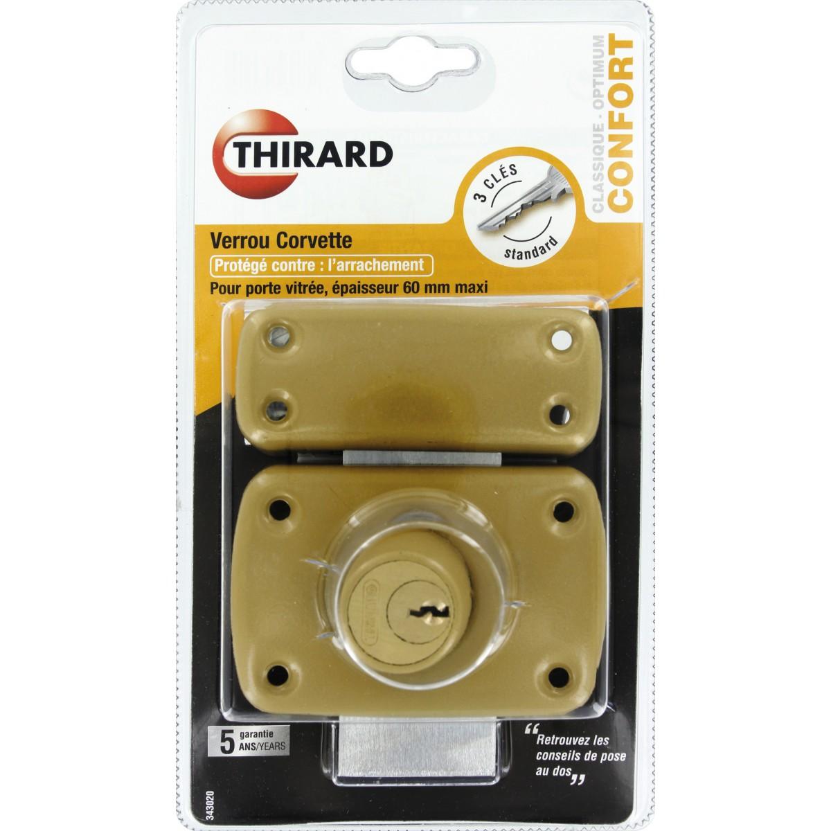 Verrou de sureté à cylindre double série Mirage Thirard - Dimensions 60 mm