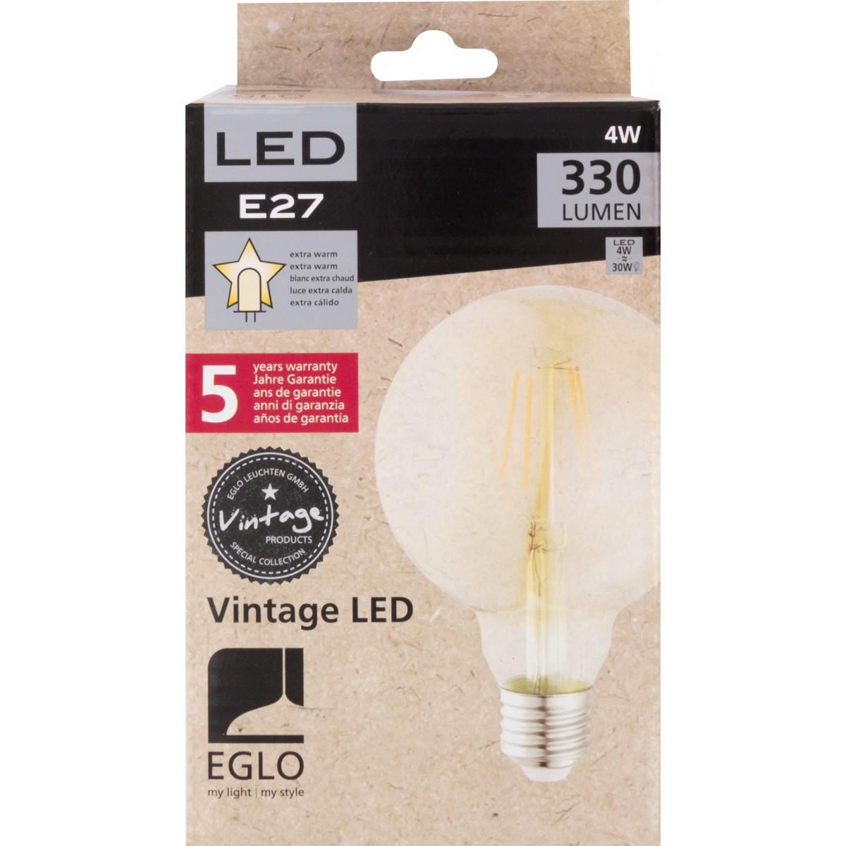 Ampoule globe vintage G95 LED filament E27 Eglo - 330 Lumens - 4 W