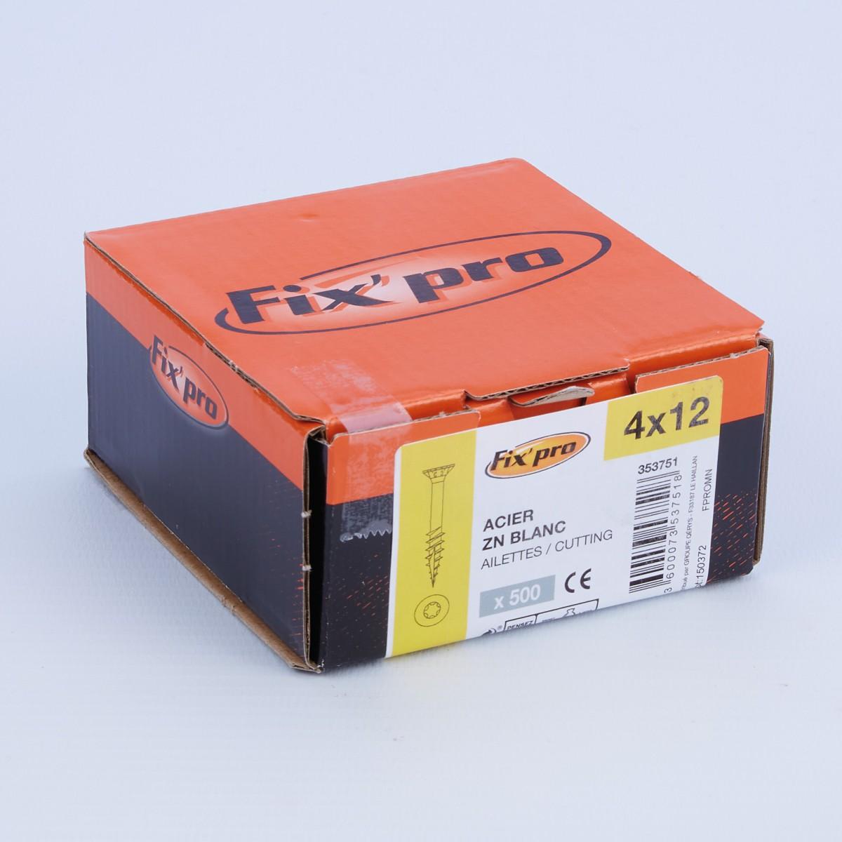 Vis à bois tête fraisée TX - 4x12 - 500pces - Fixpro