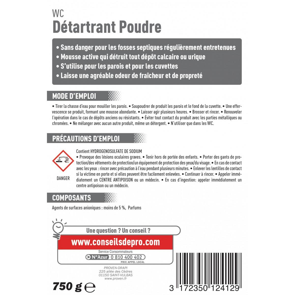 Détartrant WC Spado - Poudre - Flacon 750 g