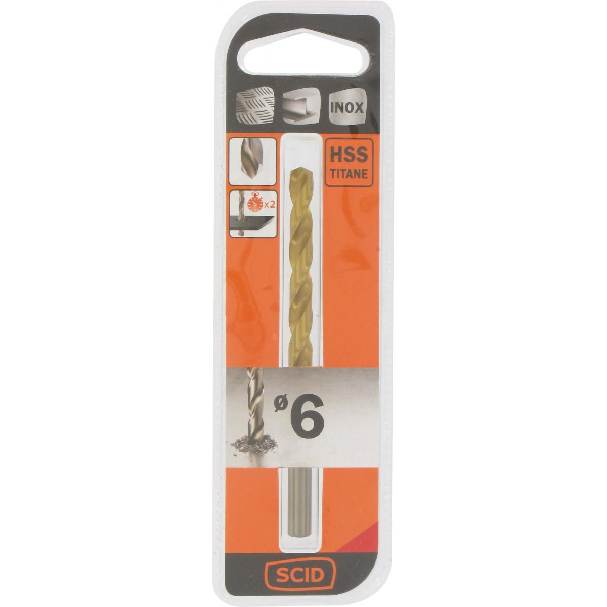 Foret métal HSS titane SCID - Longueur 95 mm - Diamètre 6 mm