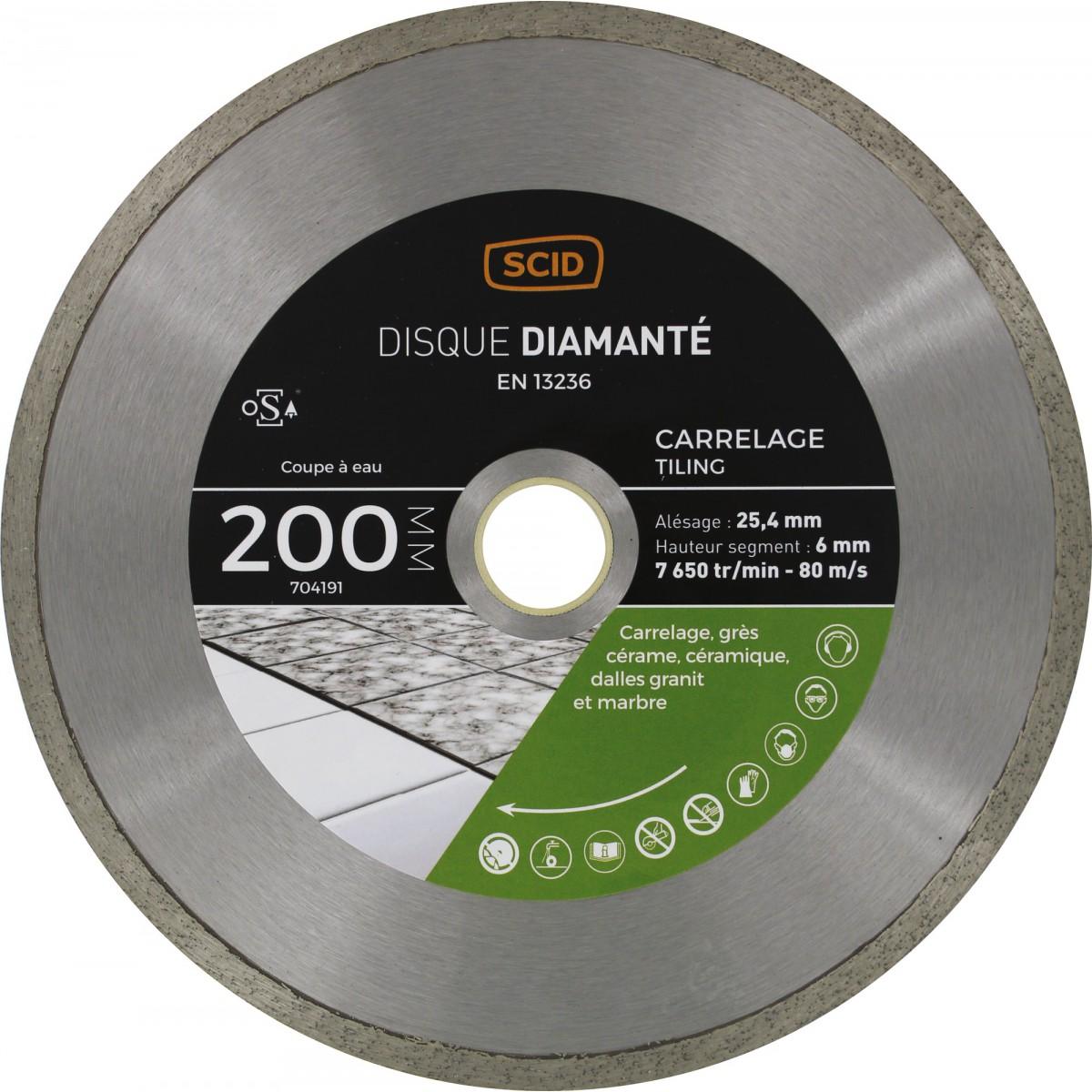 Disque diamanté grés cérame et carrelage SCID - Diamètre 200 mm