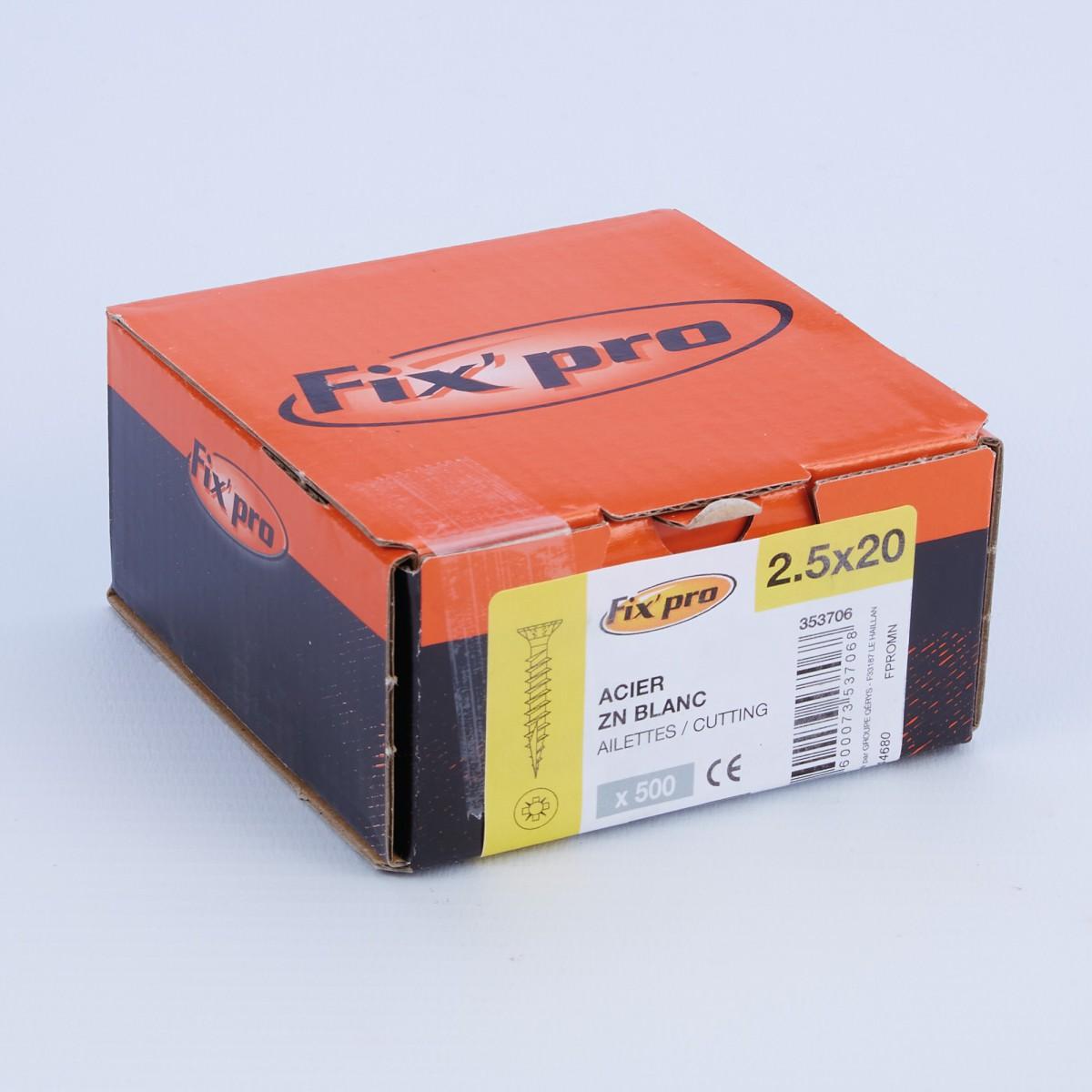 Vis à bois tête fraisée PZ - 2,5x20 - 500pces - Fixpro