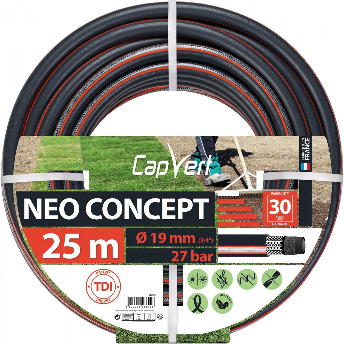 Tuyau d'arrosage Néo Concept Cap Vert - Diamètre 19 mm - Longueur 25 m