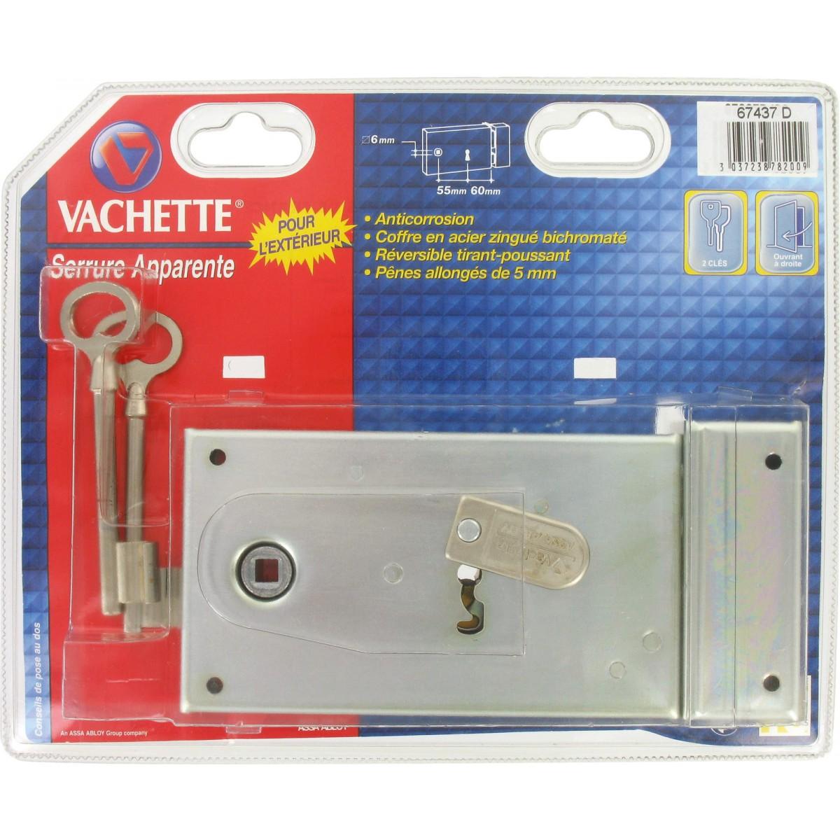 Serrure à clé bénarde horizontale pêne dormant pour grille série standing Vachette - Droite