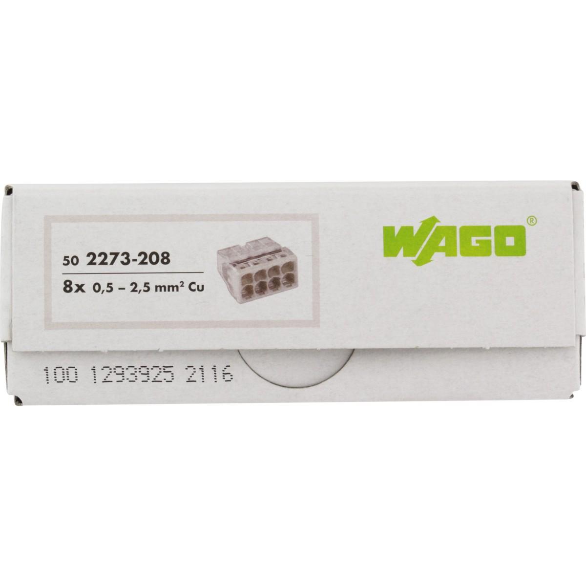 Borne pour boîtes de dérivation Wago - 8 conducteurs - Vendu par 50