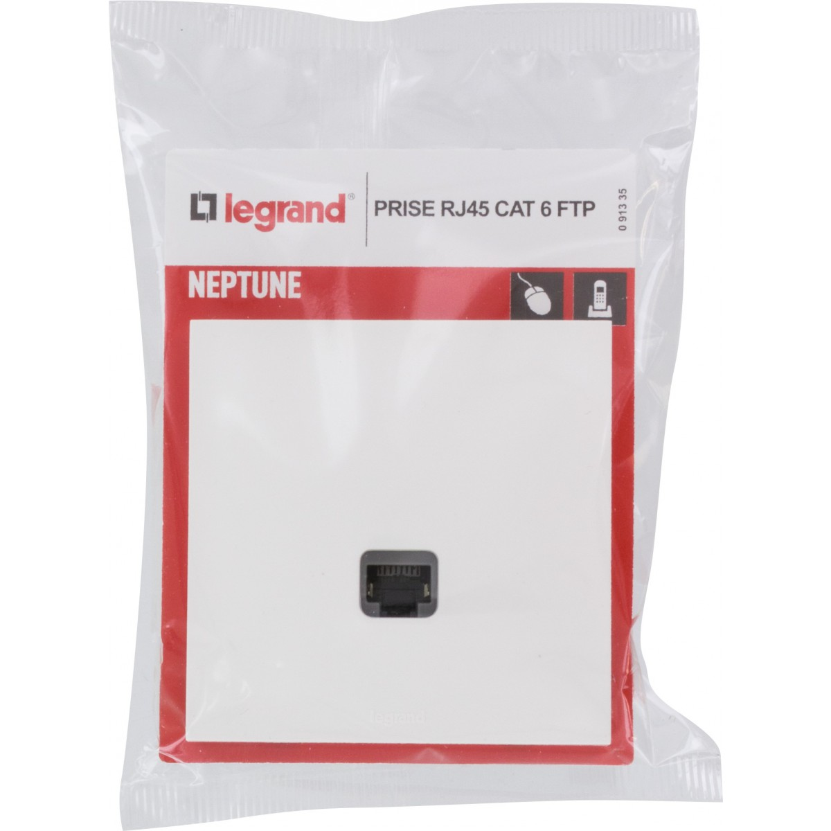 Prise RJ 45 multimédia cat. 6 FTP Legrand - Neptune - Blanc