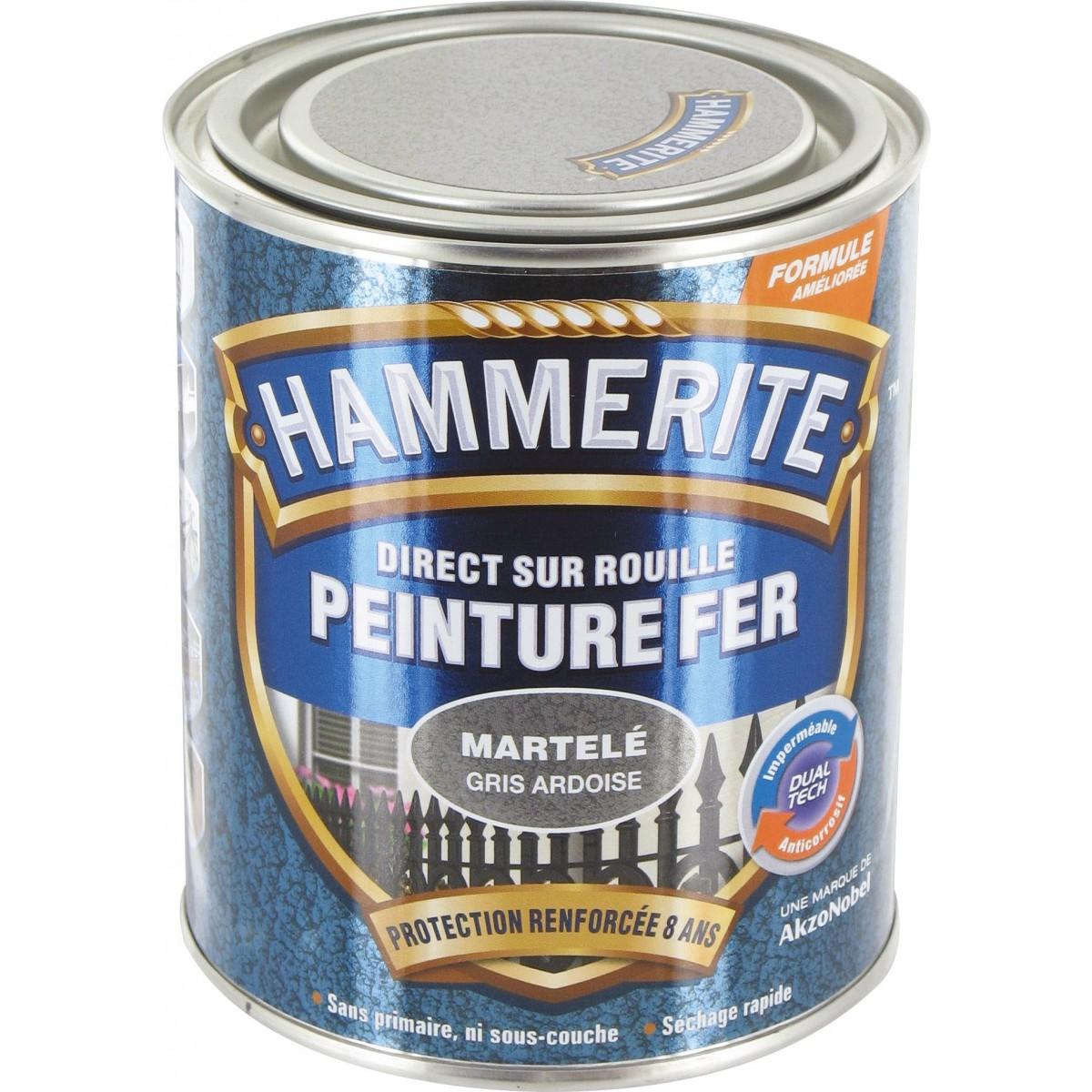 Peinture martelée Hammerite - Boîte 750 ml - Gris ardoise
