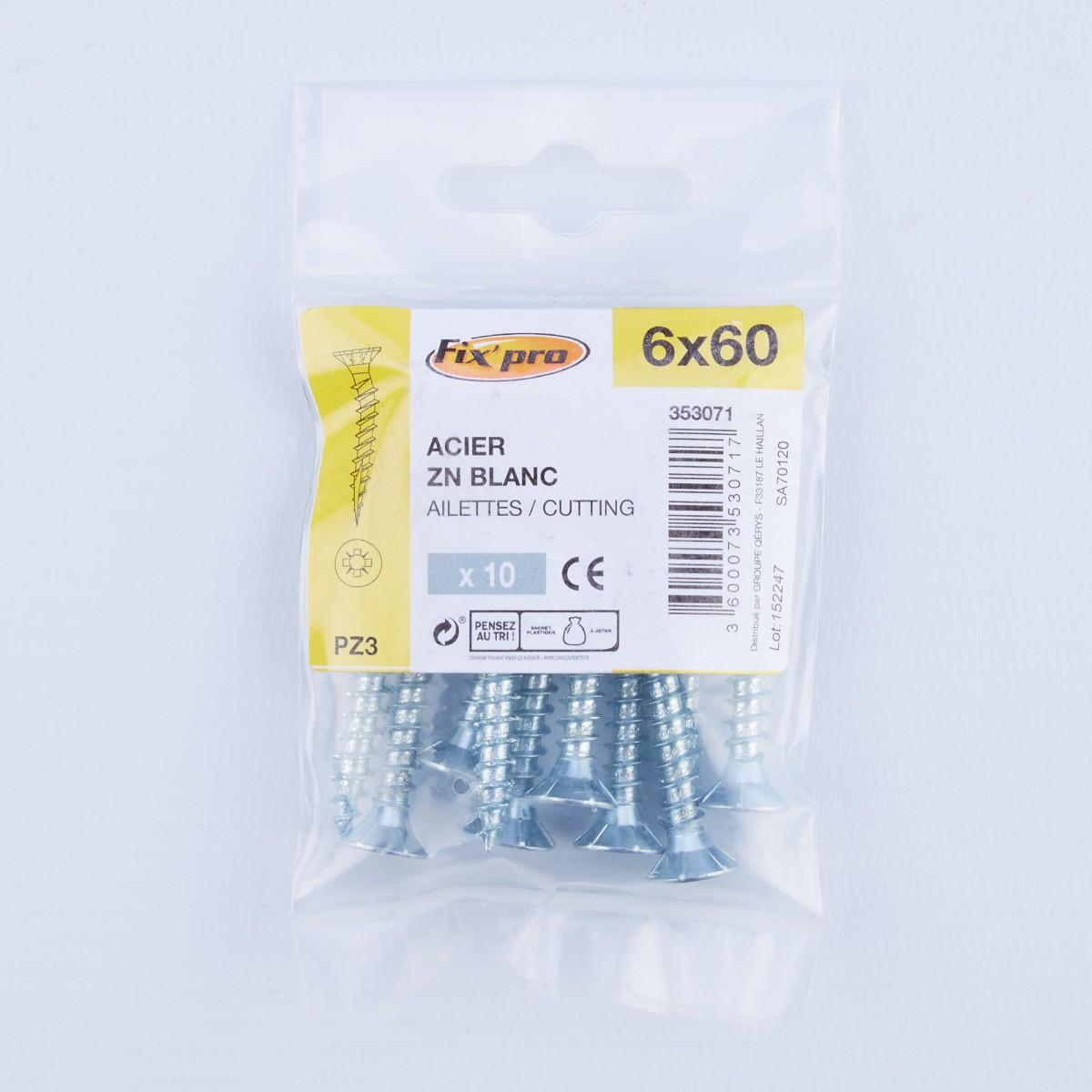 Vis à bois tête fraisée PZ - 6x60 - 10pces - Fixpro