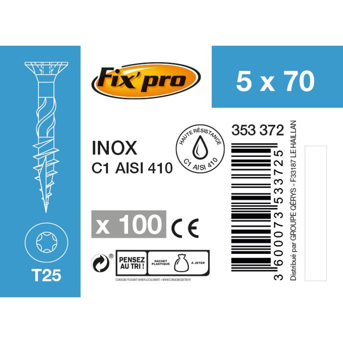Vis terrasse inox C1 - 5x70 - 100pces - Fixpro