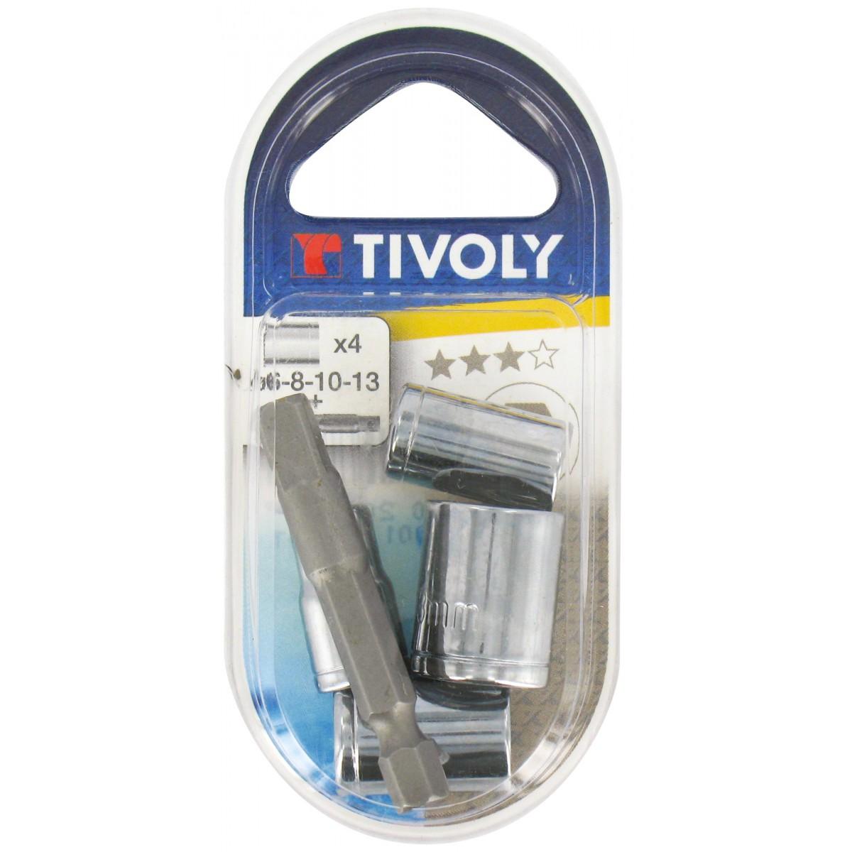 Jeu 4 douilles + 1 porte-embout carré Tivoly - Douilles 6 - 8 - 10 - 13 mm - Vendu par 5