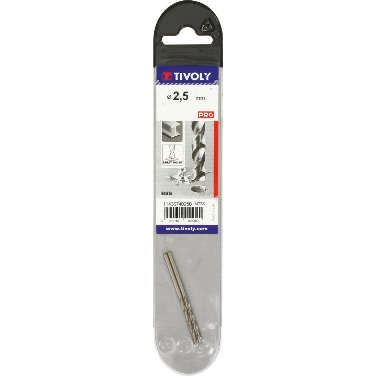 Foret métaux autocentrant qualité TX Tivoly - Diamètre 2,5 mm - Vendu par 2