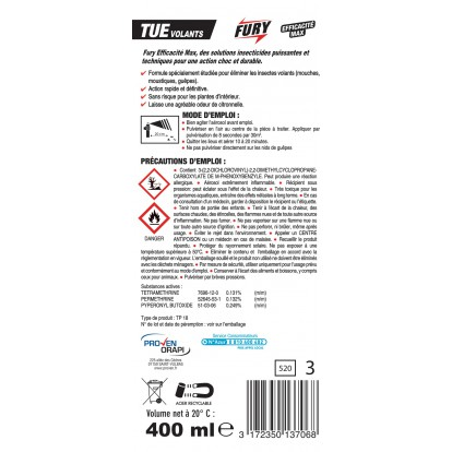 Tue volants Fury - Aérosol 400 ml