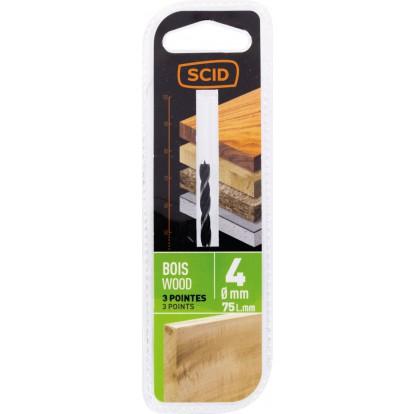 Mèche à bois 3 pointes SCID - Longueur 45 mm - Diamètre 4 mm