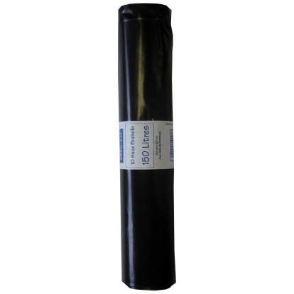 Sac poubelle Schweitzer - Noir - 150 l - 65 microns - Vendu par 10 rouleaux de 10 sacs