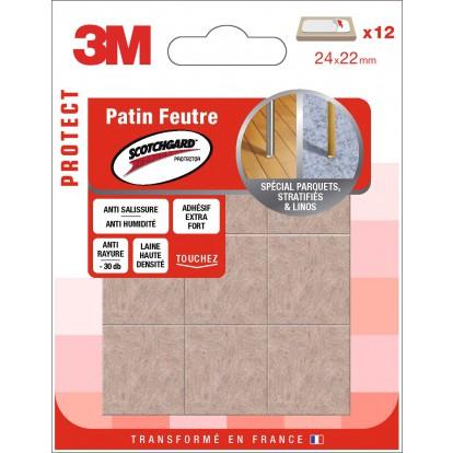 Patin adhésif feutre laine marron 3M- Rectangle - Dimensions 24 x 22 mm - Vendu par 12