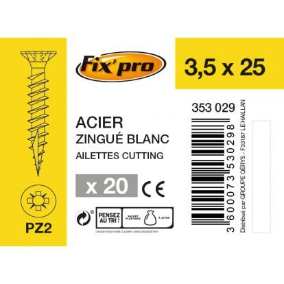 Vis à bois tête fraisée PZ - 3,5x25 - 20pces - Fixpro